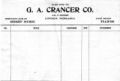 G.A. Crancer Co. order slip